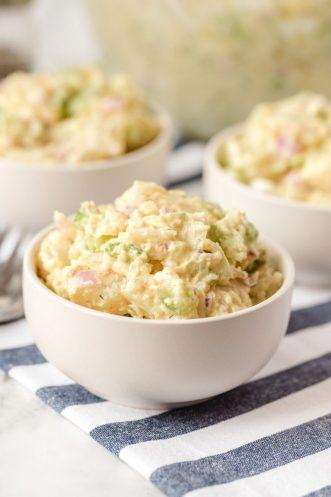 three bowls of potato salad