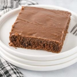close up shot of a slice of texas sheet cake on a plate