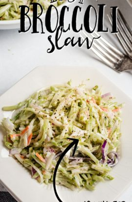 broccoli slaw on a plate with forks