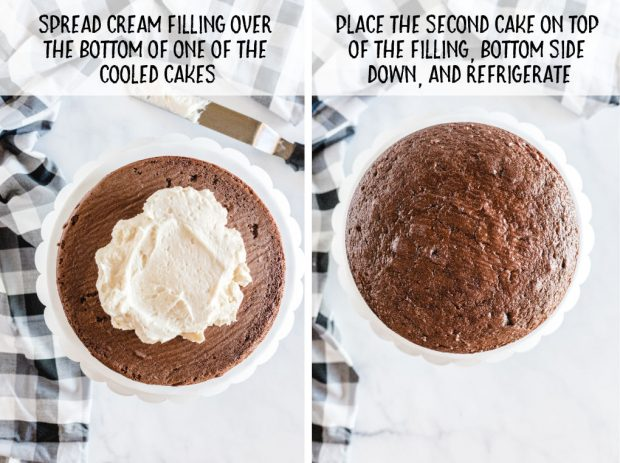 A chocolate cake on a plate, with Cream and Ding Dong
