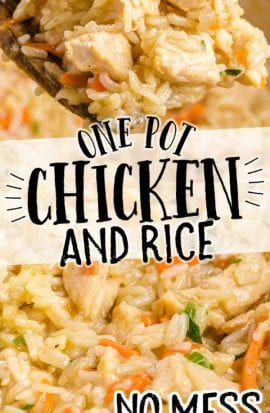 close up shot of one pot chicken and rice being picked up with a large wooden spoon