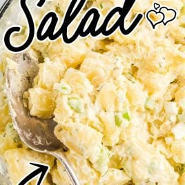 close up overhead shot of a bowl of Potato Salad with a spoon