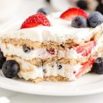 closeup of berry icebox cake
