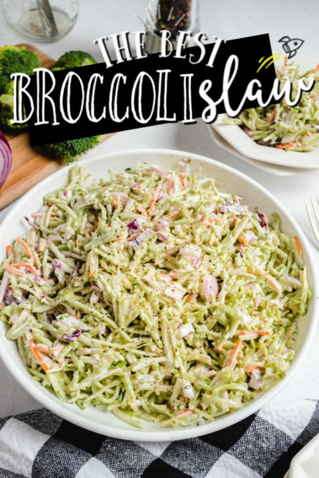 A bowl of food on a plate, with Broccoli slaw