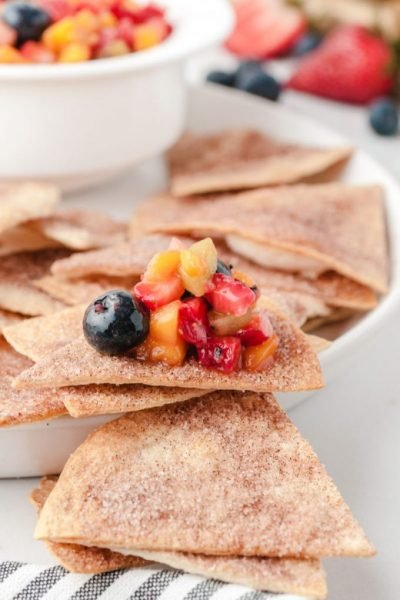 A plate of food, with Cinnamon and Fruit