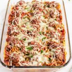 Baked Spaghetti and Meatballs in glass 9x 13 dish