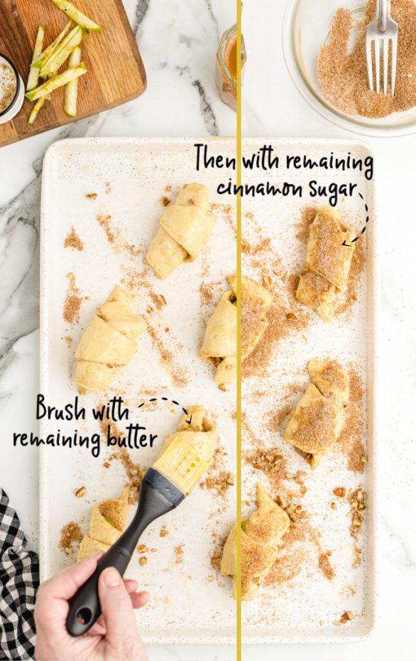 Apple Pie Bites being prepared