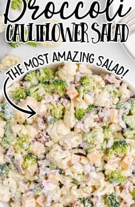 overhead shot of broccoli cauliflower salad with homemade salad dressing in a bowl
