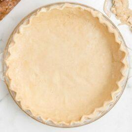 close up overhead shot of a Pie Crust in a dish
