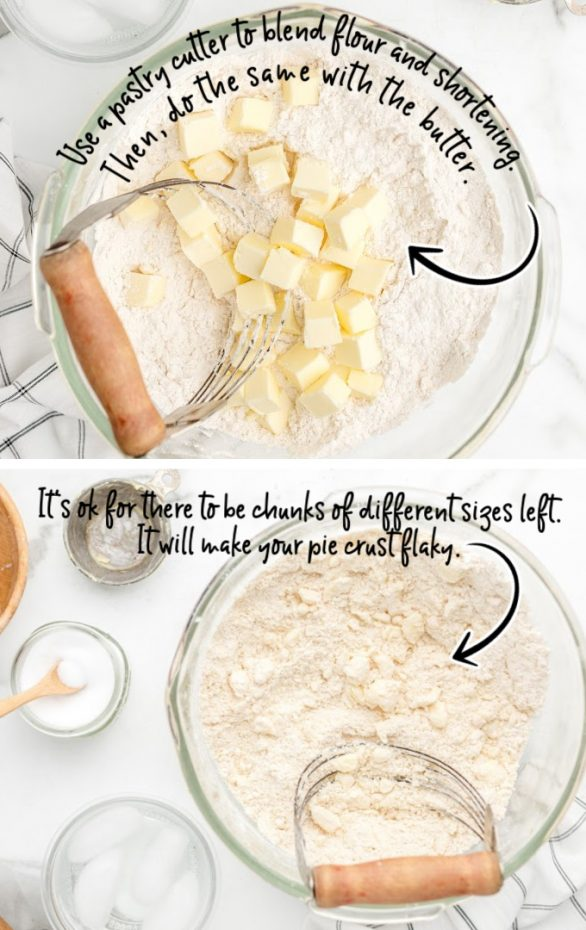 glass bowl with flour and chunks of butter being mixed in