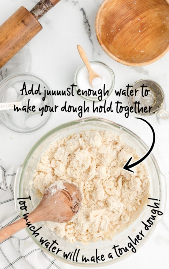 glass bowl with flour and water being mixed together