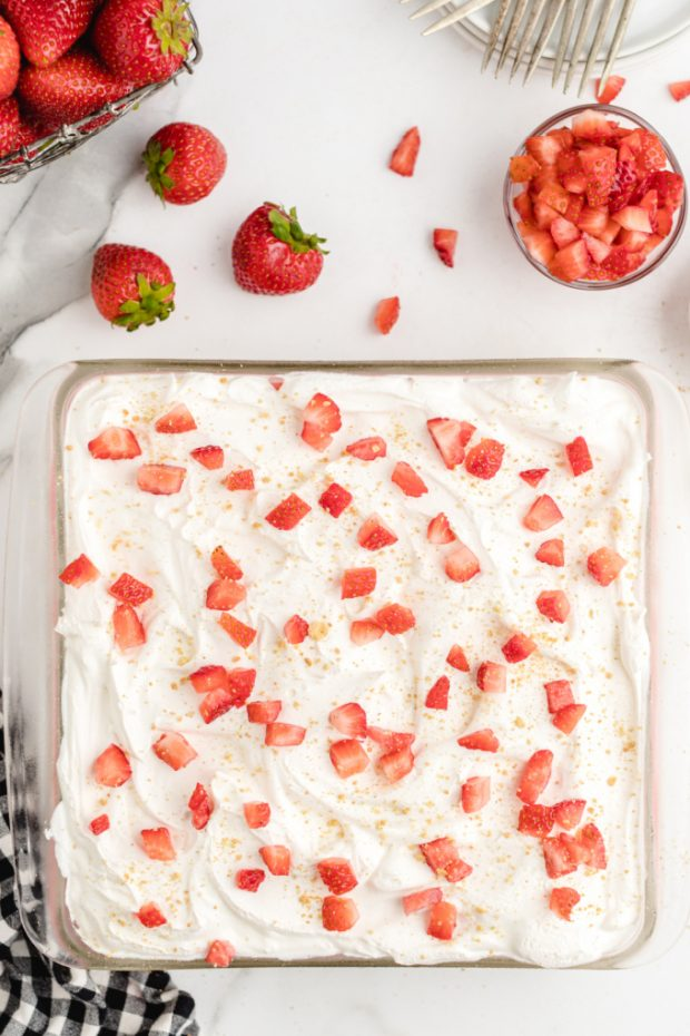 Food on a plate, with Strawberry and Cheese