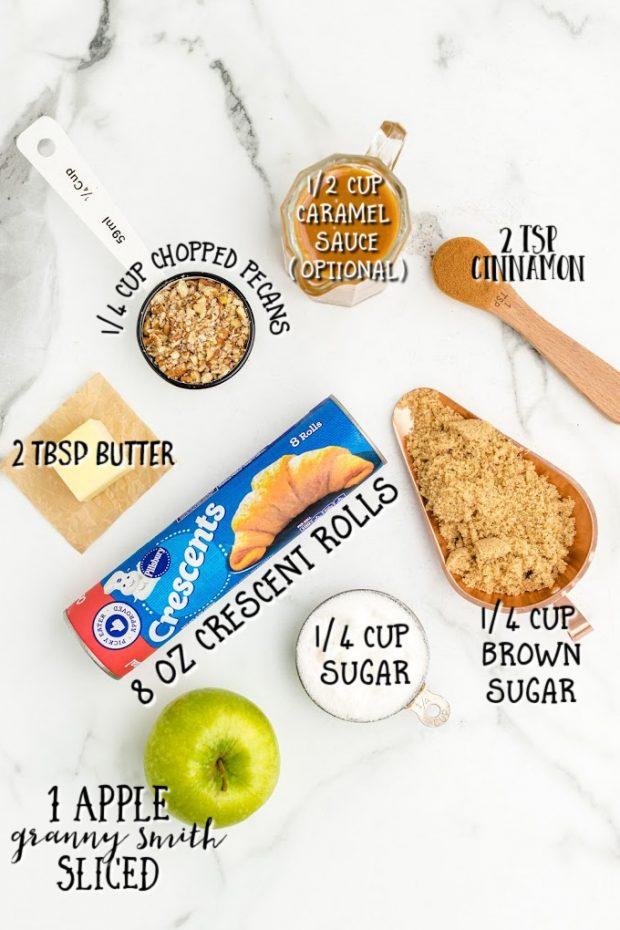 Apple Pie Bites ingredients overhead shot