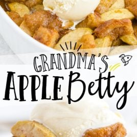 close up shot of grandma's apple betty in a white casserole pan with a 3 scoops of ice cream on the top and grandma's apple betty on a spoon served with a scoop of ice cream on top