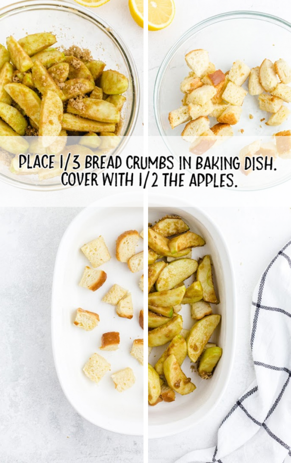 grandma's apple betty in a white casserole pan with just bread crumbs and then bread crumbs covered with sliced green apple