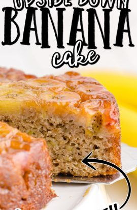 close up shot of banana upside down cake slice being picked up by a silver spatula