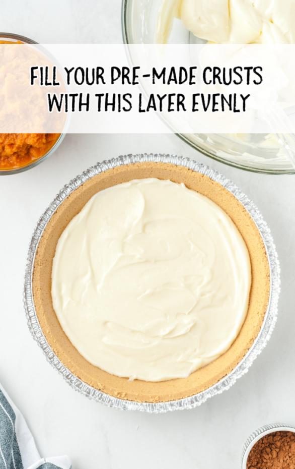 no bake pumpkin pie steps of filling inside a pre-made crust
