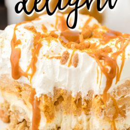 close up of a slice of butterscotch delight with caramel drizzle