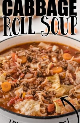 cabbage roll soup in a dutch oven with text overlay