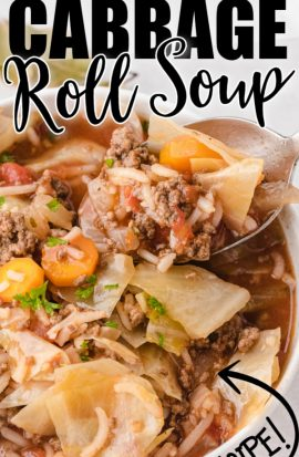 cabbage roll soup in a bowl with a spoon taking a bite and with text overlay