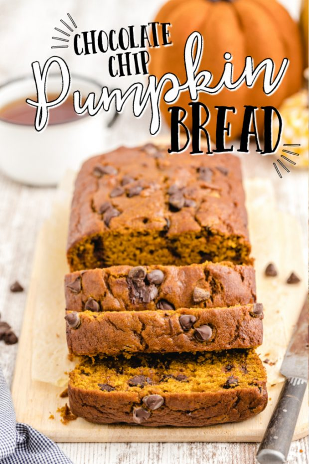 close up shot of chocolate chip pumpkin bread cut into slices on a wooden board