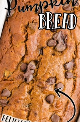 close up shot of chocolate chip pumpkin bread in a pan