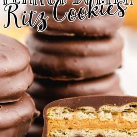 close up shot of Chocolate Peanut Butter Ritz Cookies stacked on top of each other and showing the inside layers of the cookie