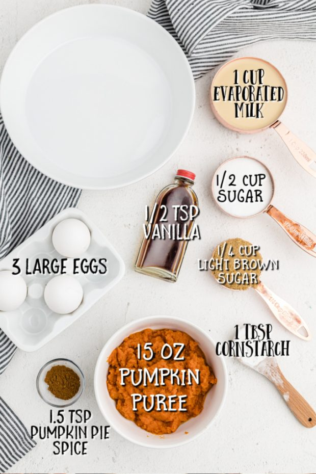 ingredients for crustless pumpkin pie on a white table with labels