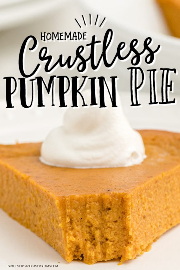 close up of a slice of crustless pumpkin pie with a bite taken out and text overlay