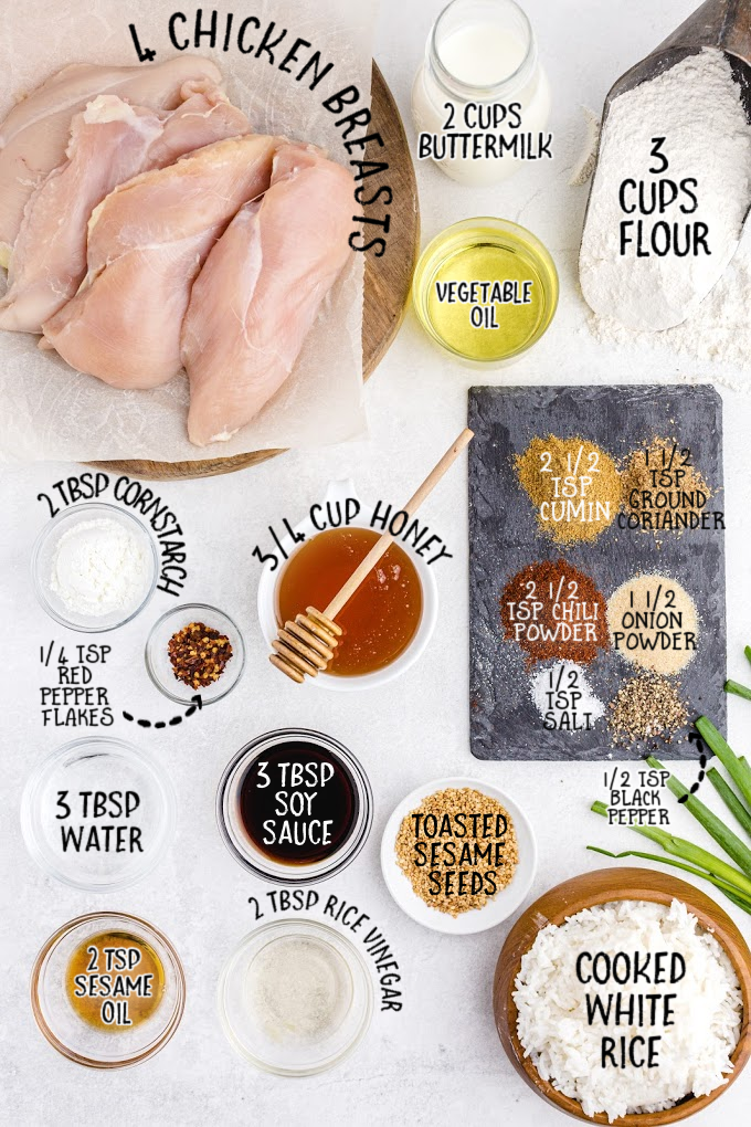 raw ingredients for crispy honey chicken on white surface overhead shot