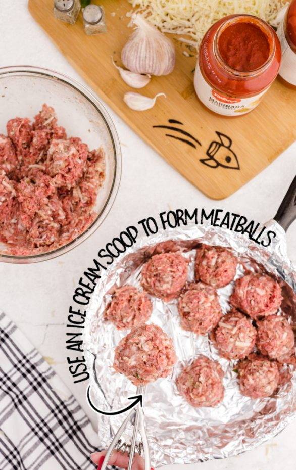 meatball meat being scooped with a ice cream scooper to form meatballs with ingredients in the background