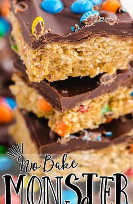 close up shot of no bake monster cookies stacked on top of each other