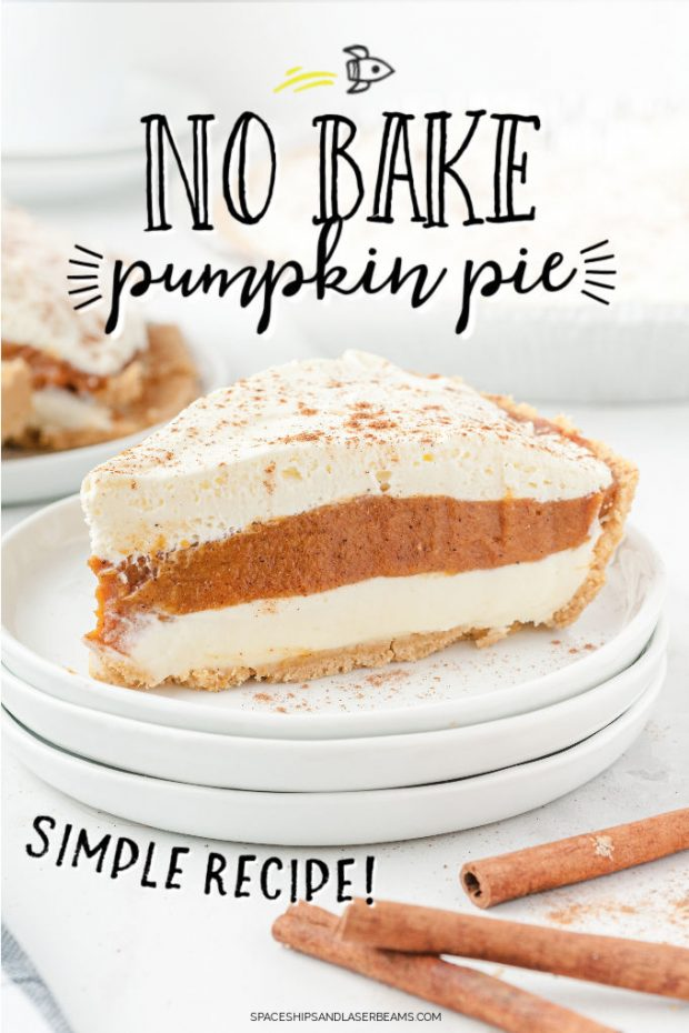 no bake pumpkin topped with whip cream and cinnamon on 3 white plates stacked on top of each other