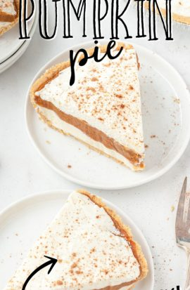 two no bake pumpkin pie topped with whip cream and cinnamon on white plates
