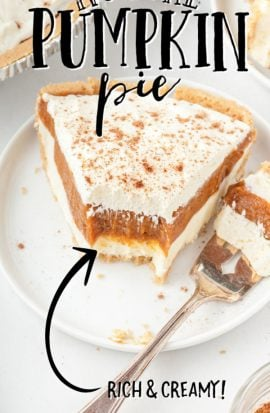 no bake pumpkin pie topped with whip cream and cinnamon on a white plate with a piece on a fork