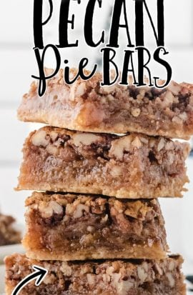 pecan pie bars stacked on top of eachother