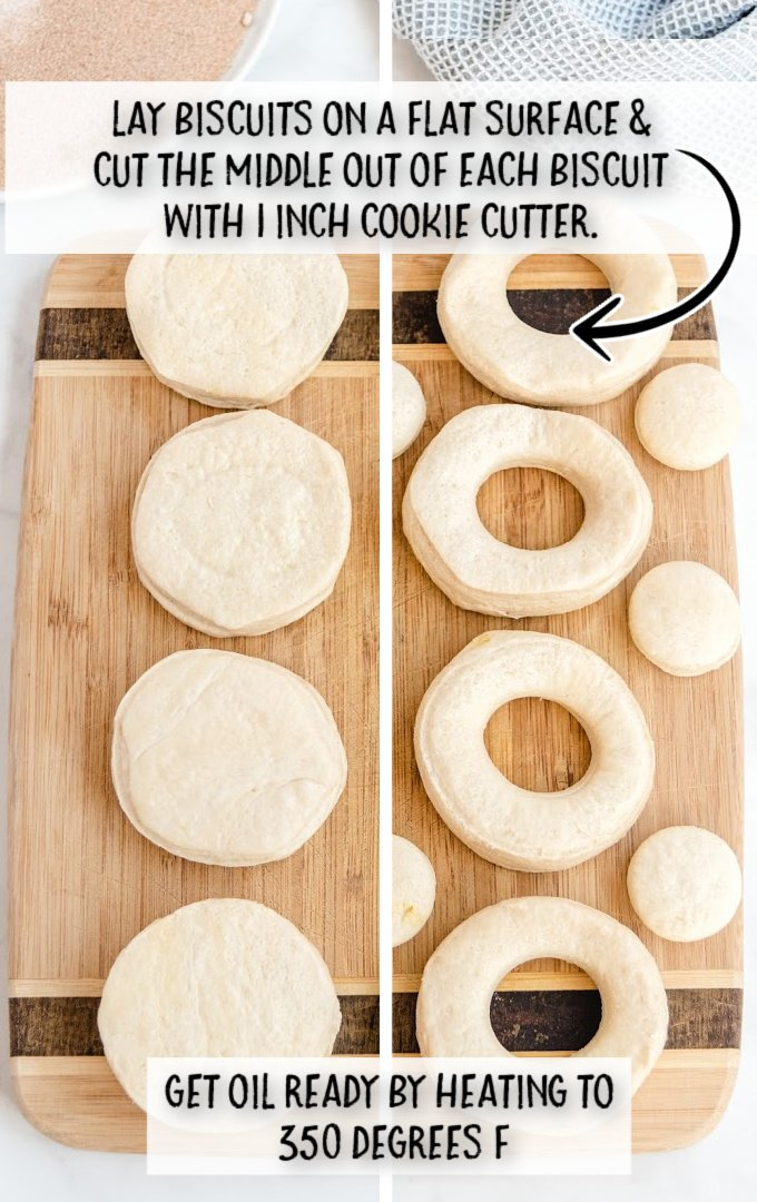 pillsbury biscuit donuts process steps of donuts being cut on a cutting board