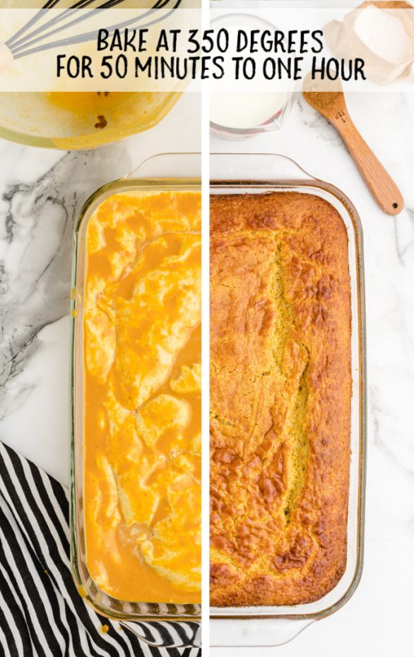 pumpkin magic cake in cake pan overhead shot side by side with raw cake batter then cooked cake