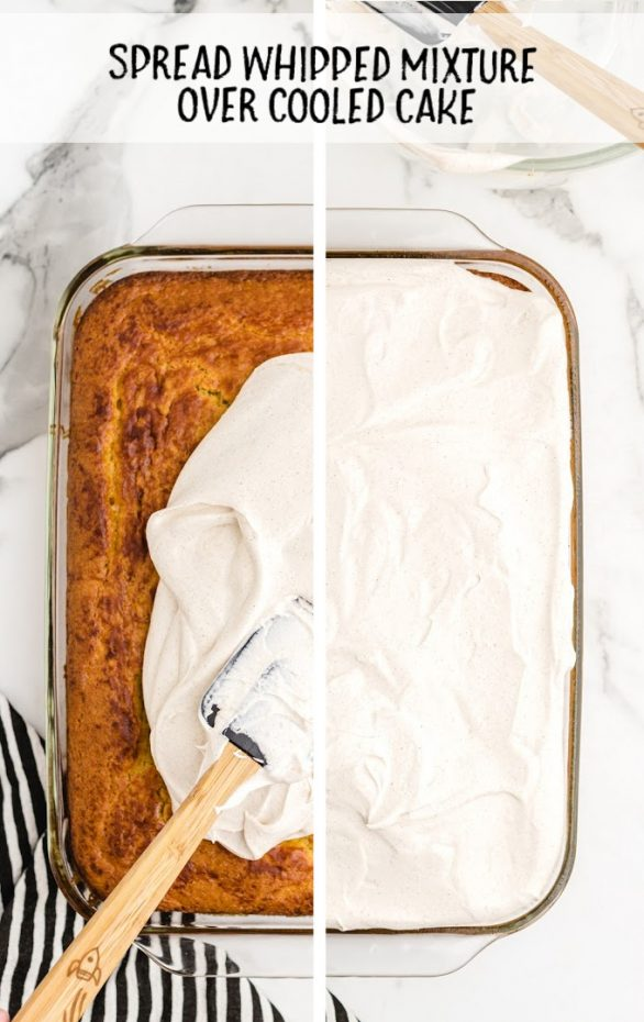 overhead shot of pumpkin magic cake with white frosting being applied