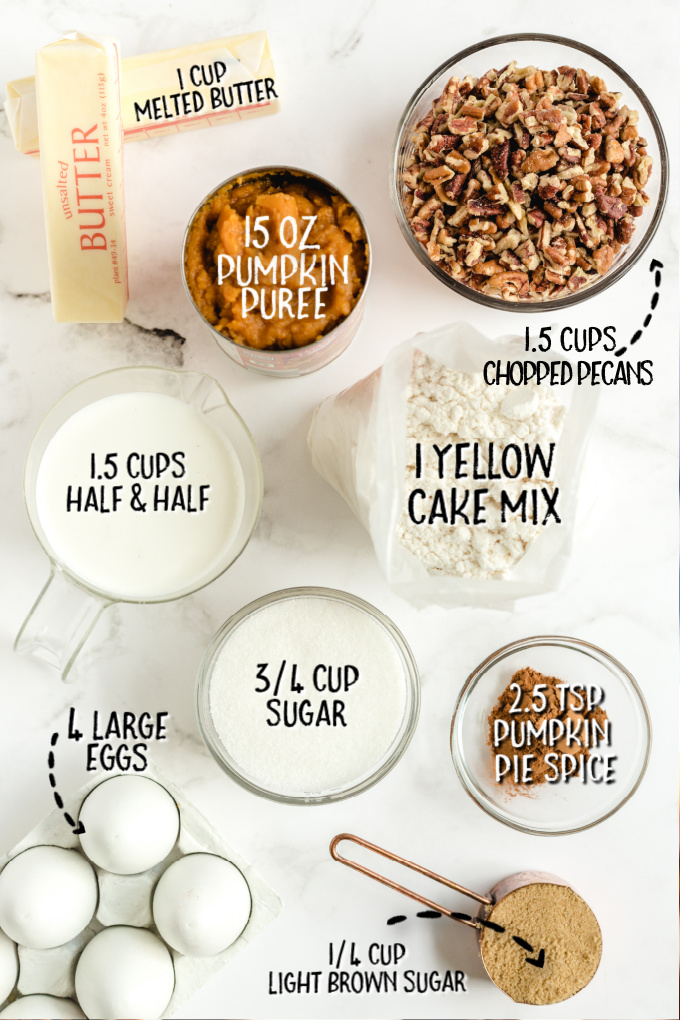 pumpkin crunch cake raw ingredients that are labeled