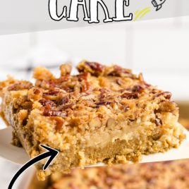 close up shot of pumpkin crunch cake being picked up with a spatula