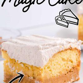 close up shot of a slice of Pumpkin Magic Cake on a plate