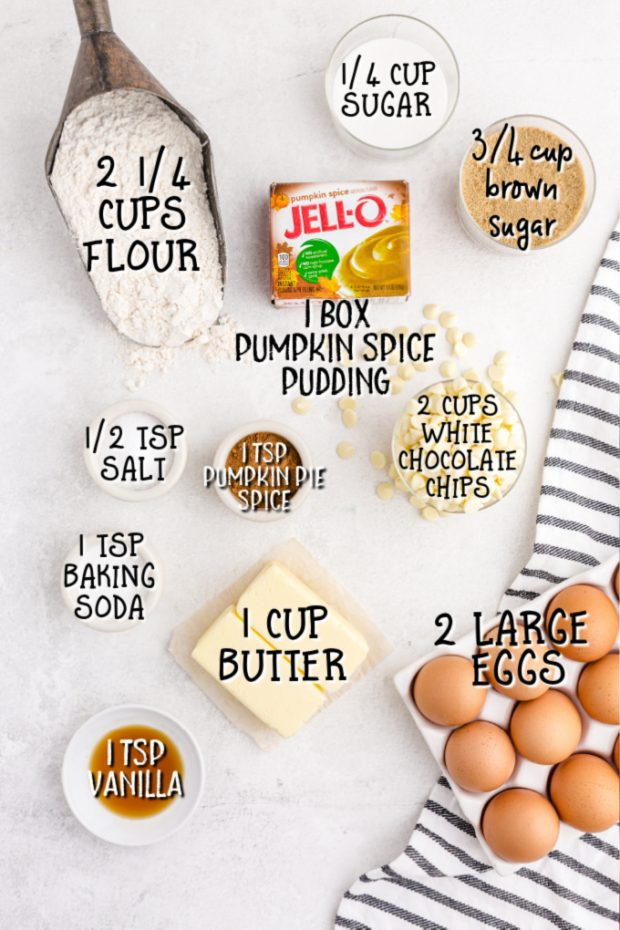 ingredients for PUMPKIN SPICE jello COOKIES on a white surface and labeled