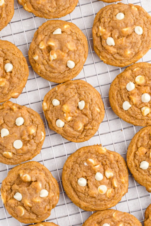 PUMPKIN SPICE jello COOKIES cooling on a wire rack
