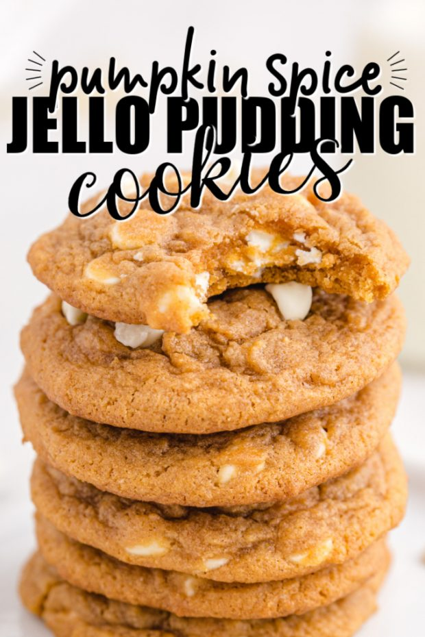 stack of PUMPKIN SPICE jello COOKIES with a bite taken out of the top cookie with text overlay