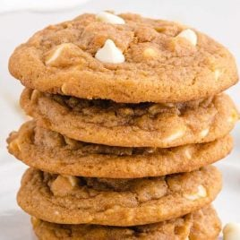 close up side shot of Pumpkin Spice Jello Cookies stacked on a plate