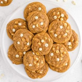 close up overhead shot of Pumpkin Spice Jello Cookies piled on a plate