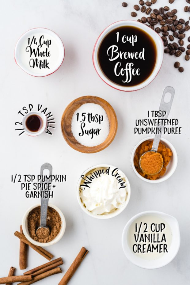 homemade pumpkin spice latte raw ingredients on white surface and labeled