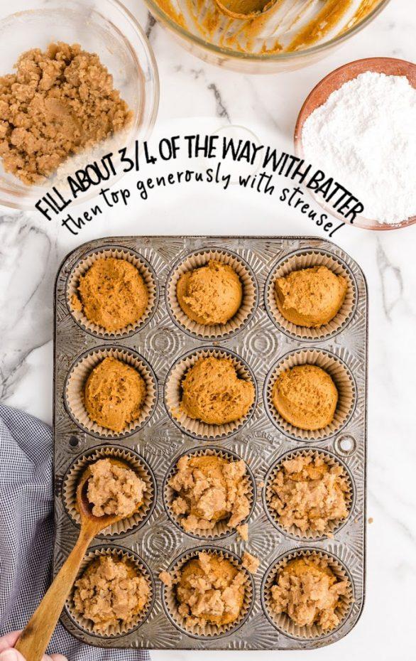 pumpkin spice muffins being prepared in a muffin tin