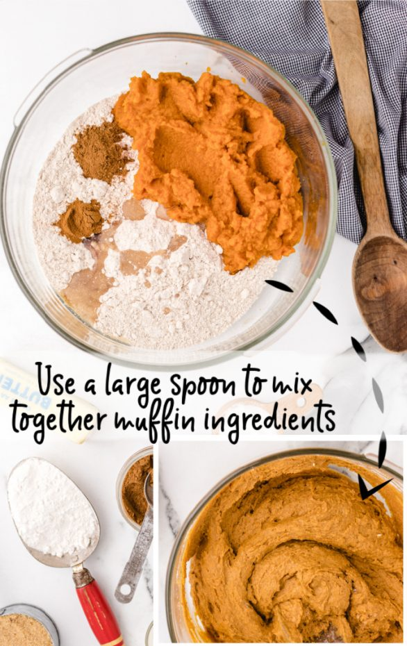 pumpkin spice muffins being prepared with raw ingredients in a glass bowl